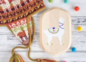 DIY pained alpaca with free traceable pattern