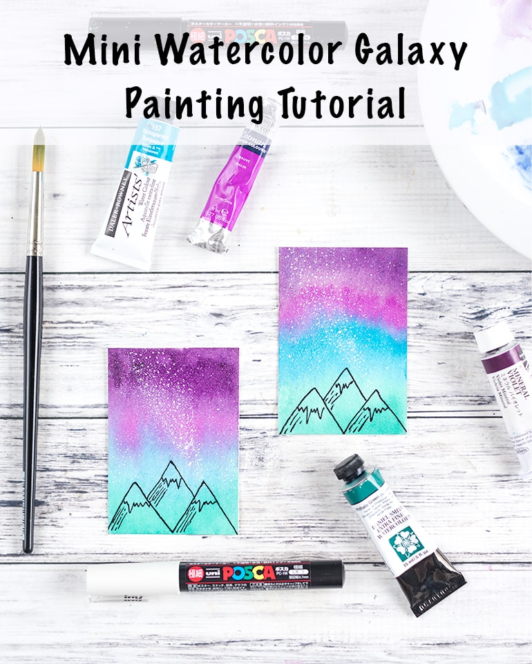mini watercolor galaxy painting tutorial