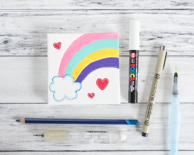self-acceptance rainbow mini art