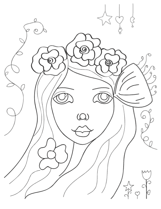 Whimsical Girl Printable Coloring Page - Whimsy Girl Coloring Page