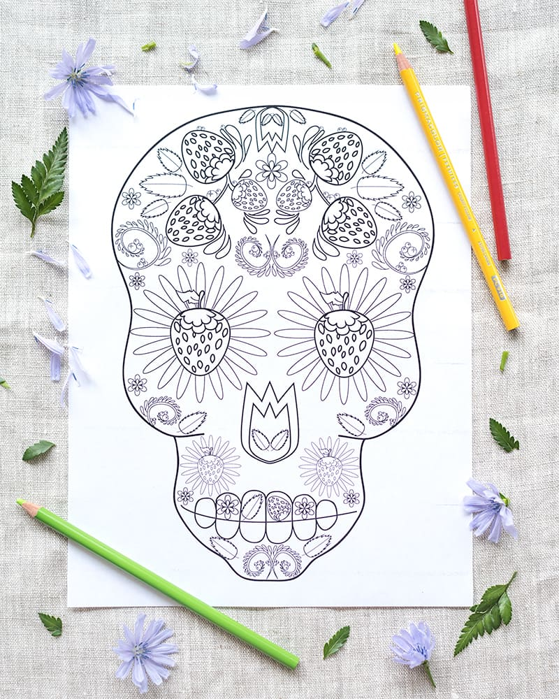 strawberry sugar skull printable coloring page