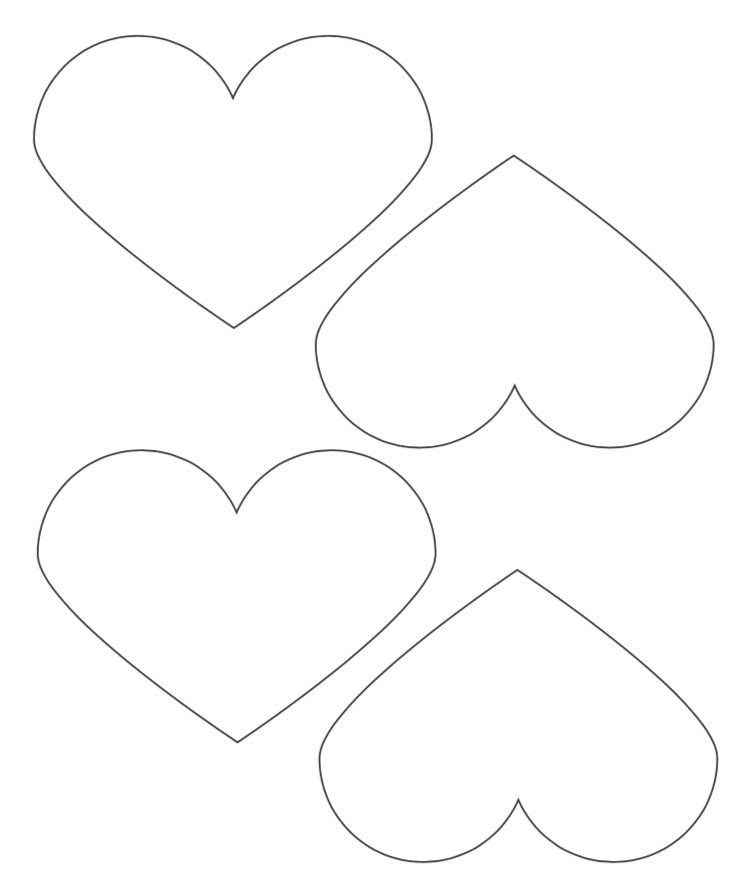 4x5 wide printable heart templates