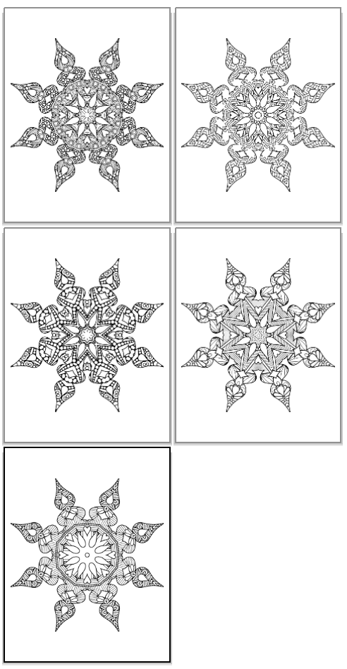 complex snowflake coloring pages