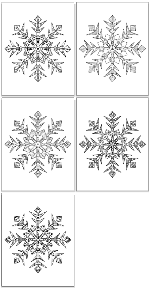 complicated snowflake coloring pages