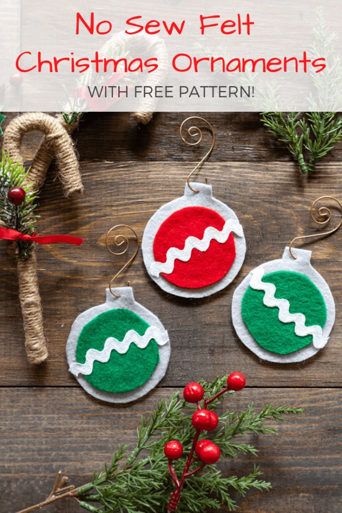 picture relating to Free Printable Christmas Ornament Patterns called No Sew Straightforward Felt Xmas Ornaments - The Artisan Lifestyle