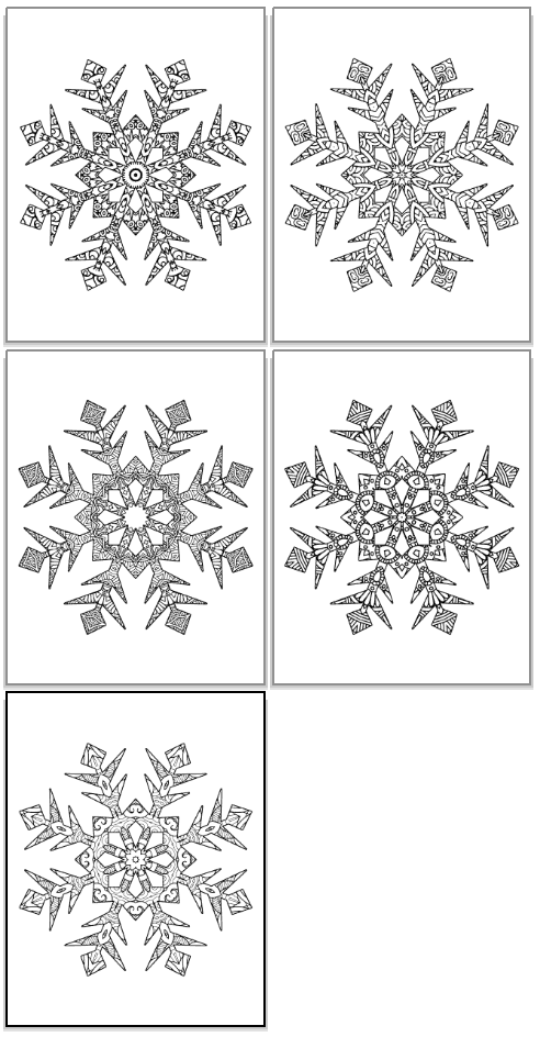 snowflake shapes to color