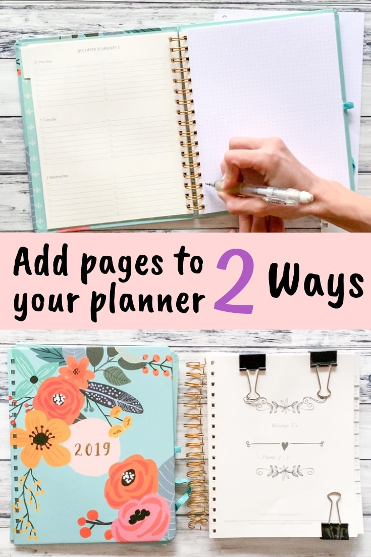 Add pages to your planner 2 ways - plus free planner printables in letter and 7x9 size! #plannerprintable #freeprintable #freeplannerprintable
