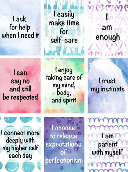 free printable watercolor affirmation cards for self-care