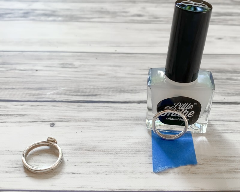how to resize your ring with nail polish - prop ring up while it dries
