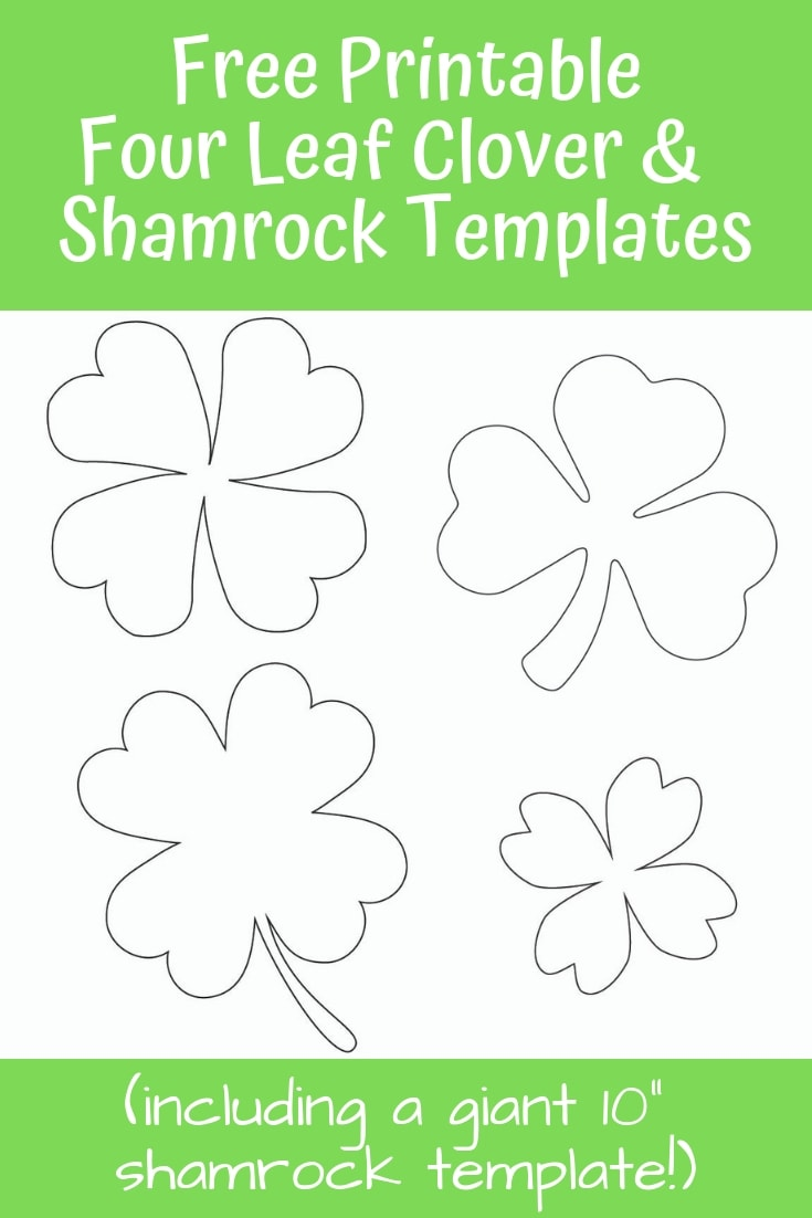 Download these free printable four leaf clover and shamrock templates for St. Patrick's Day