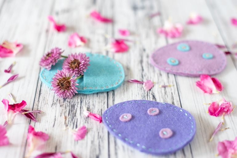 eco-friendly fillable Easter eggs made from wool felt