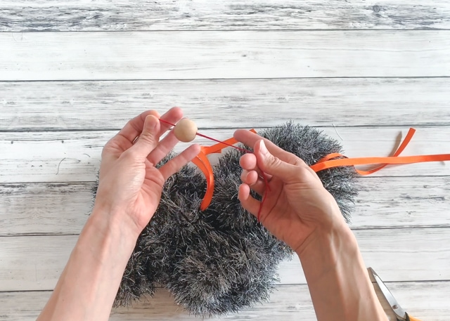 how to thread beads on ribbon with floss