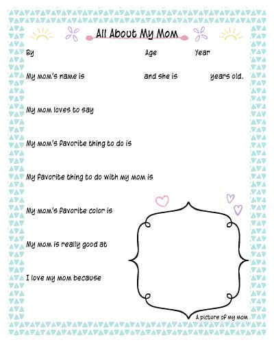 All about my Mom free printable worksheet