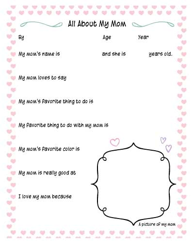 All about my Mommy printable worksheet for Mother's Day