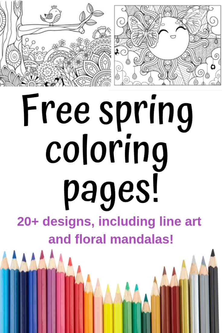 Spring Coloring Pages - Free Printable Spring Adult Coloring Pages