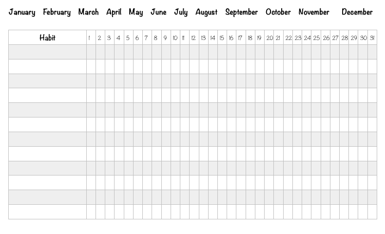 monthly habit tracker free printable