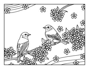 spring coloring page with birds and flowers