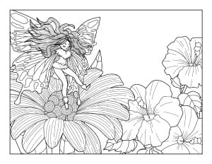 spring coloring page with flowers and a fairy