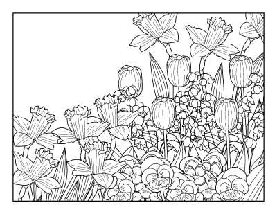 Spring Coloring Pages - Free Printable Spring Adult Coloring ...