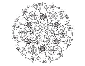 complex spring floral mandala printable