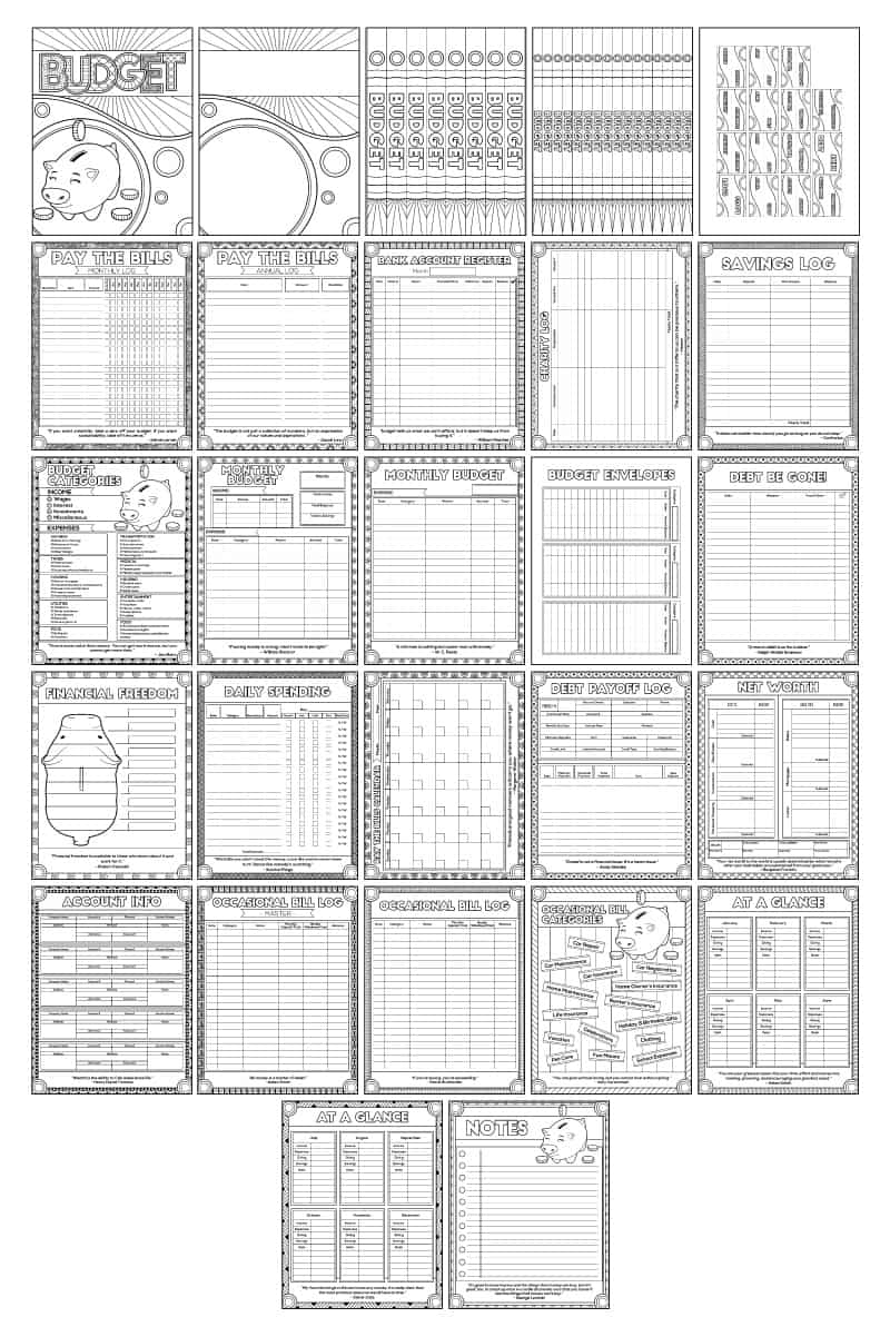 budget binder printable preview