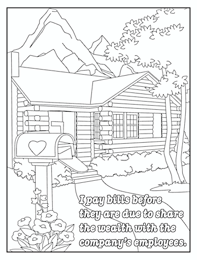 I pay bills early coloring page