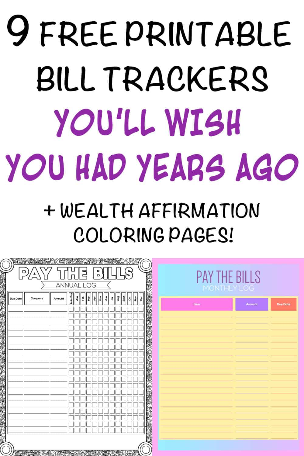 graphic regarding Free Printable Monthly Bill Payment Log titled 9+ Printable Monthly bill Charge Checklists and Invoice Trackers - The