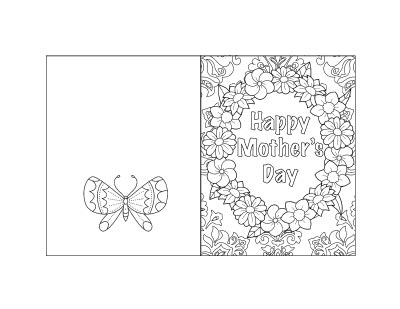"Free printable Mother's Day card with flowers, a butterfly, and text ""Happy Mother's Day"""