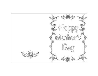 free printable Mother's Day card with hummingbirds and flowers