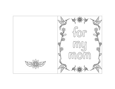 "free printable Mother's Day card with hummingbirds and text ""for my mom"""