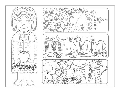 four printable Mother's Day bookmarks to color. One is in the shape of a woman, another has flowers, the third has owls, and the fourth has cats.