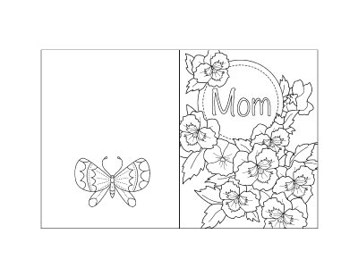 free printable Mother's Day card with violets to color