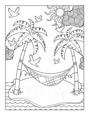 beach-hammock-coloring-page