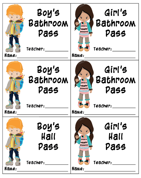 boys and girls bathroom passes and hall passes