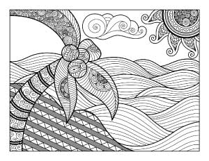 coconut palm coloring page printable