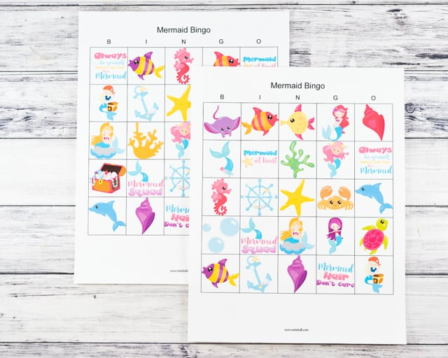 free printable 5x5 mermaid bingo cards