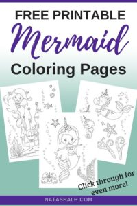 free printable mermaid coloring pages text overlay on aqua background