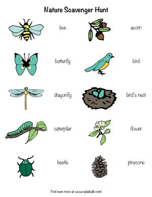 free printable nature scavenger hunt for toddlers and preschoolers