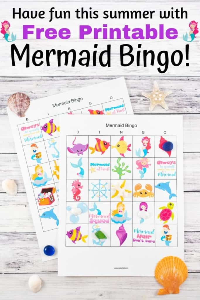 graphic about Printable Mermaid Pictures called Absolutely free Printable Mermaid Bingo - The Artisan Lifestyle