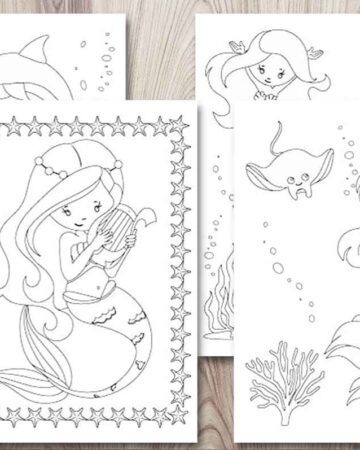 four free printable mermaid coloring pages on a wood background. All four pages feature cartoon style mermaids for kids to color