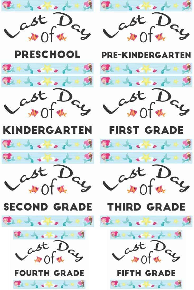 mermaid printable last day of school signs