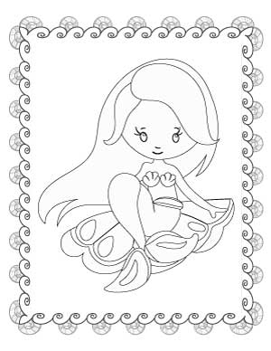 mermaid-sitting-on-a-shell-coloring-page