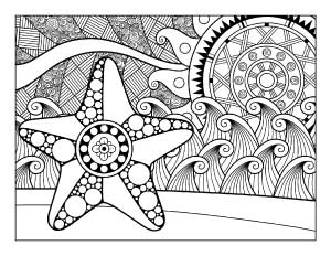 starfish-and-waves-coloring-page