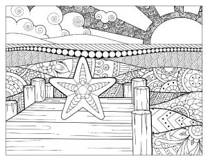 starfish-on-a-dock-coloring-page
