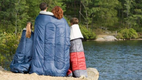 family in sleeping bags
