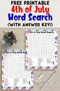 Free Printable Fourth of July Word Search (with answer key!)