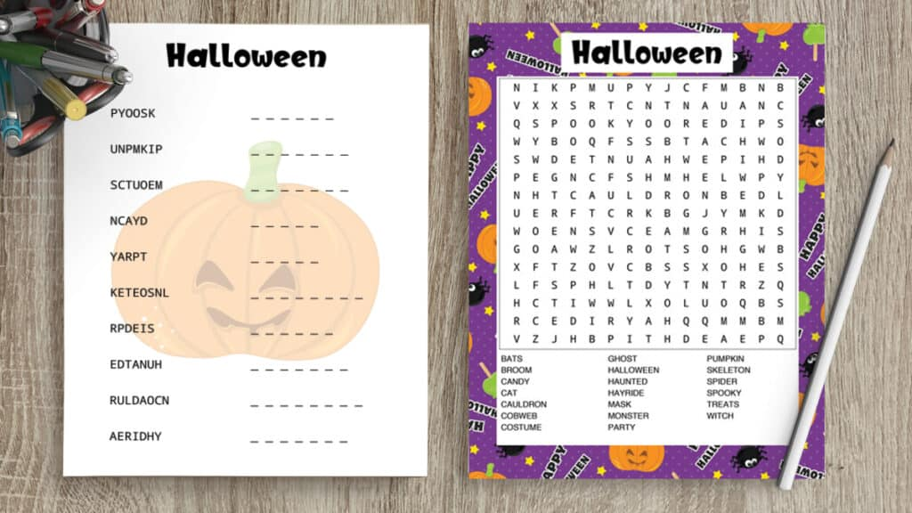 free printable halloween word search and word scramble