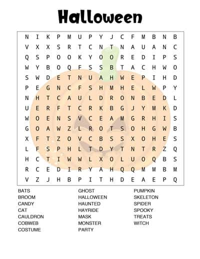 printable halloween word search pumpkin background