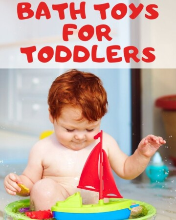 "Photo of toddler in tub with caption ""super fun bath toys for toddlers"""