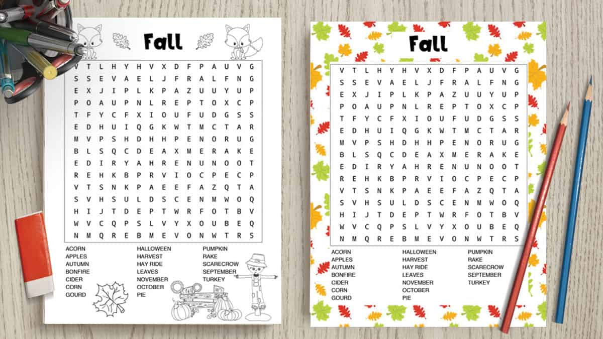 preview of fall-word-searches-black-and-white-and-full-color